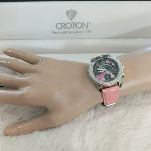 CROTON Chronomaster Pink and Black Floral Watch